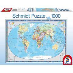 Puzzle Schmidt 1000 piese: Harta geografică a lumii