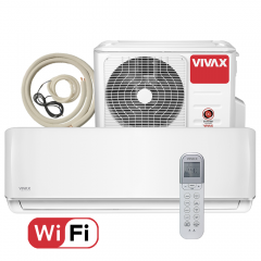 Aer conditionat Vivax ACP-09CH25AERI R-Design Wi-Fi, Kit de instalare inclus, Inverter, 9000 BTU/h, Clasa A++, Ionizator, I feel, Autodiagnoza, Autocuratare, Autodetectie scurgeri freon, filtru Bio, filtru Anti-Praf, ECO-Mode