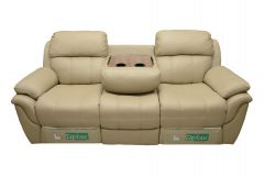 Canapea Md.2458,3 loc.cu recliner manual si masuta de cafea cu suport de pahare,Piele naturala