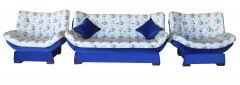 Set canapea 3 loc extensibila si 2 fotolii, Zara, albastru cu flori