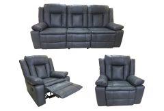 Set Piele Naturala, Ackerley Grey, Canapea 3 locuri cu 2 reclinere manuale si fotolii cu recliner manual