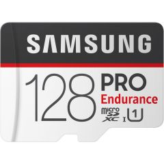 Card de memorie Samsung Micro-SDXC Pro Endurance 128GB pentru camere de supraveghere, Class 10 + adaptor SD