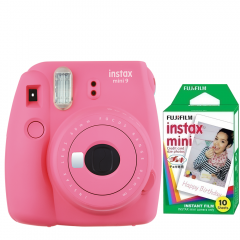Pachet Camera foto instant Fujifilm Instax mini 9, Roz, cu 10 filme incluse