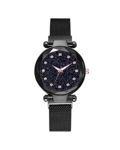 Ceas dama GENEVA CS952, model Starry Sky, bratara magnetica, elegant, negru
