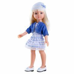 Papusa Manica in rochie bleu si bolero din denim, 32 cm - Paola Reina