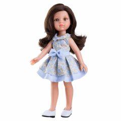 Papusa Carol in rochie bleu, cu pliuri si funda, 32 cm - Paola Reina