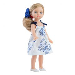 Papusa VALERIA in rochie cu fluturasi - Mini Amigas, 21 cm -  Paola Reina