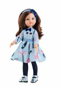Papusa CAROL in rochie bleu cu palmieri, 32 cm - Paola Reina