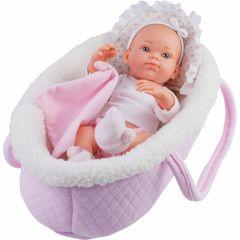 Papusa bebelus in cosulet roz - MINI PIKOLIN, 32 cm - Paola Reina