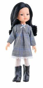 Papusa LIU in rochie pepita alb-negru, 32 cm - Paola Reina