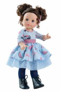 Papusa Emily in rochie bleu cu imprimeu, 42 cm - Paola Reina