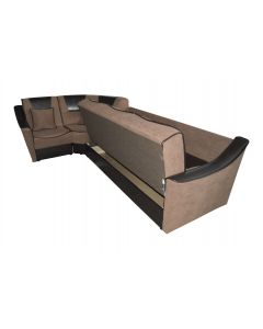Coltar Alina extensibil,lada de depozitare,Maro/imitatie piele,310x185x85 cm
