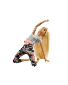 Papusa Barbie on the move, Blonda, pantaloni inflorati, fitness, complet mobila su 22 articulatii