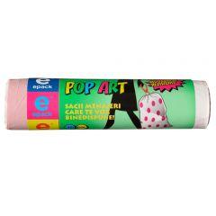 Saci menajeri EPACK POP-ART cu snur  60L  (15buc)