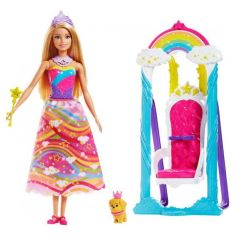 Papusa printesa Barbie cu leagan, catelus si accesorii