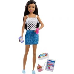 Papusa Barbie Skipper Babysitters, Bruneta fusta denim si top buline
