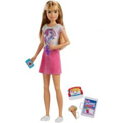 Papusa Barbie Skipper Babysitters, Blonda tricou unicorn