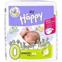 Scutece Happy 0 Before NewBorn 0-2kg 46 buc