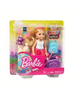 Papusa Barbie Chelsea cu accesorii pentru calatorii