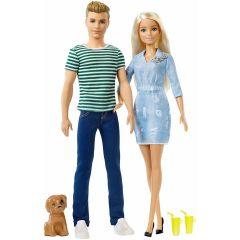 Set de joaca Barbie si Ken cu catelus
