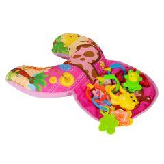 Perna activitati bebe, roz, cu 3 jucarii zornaitoare incluse