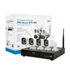Kit supraveghere video PNI House WiFi400 NVR si 4 camere wireless, 1.0MP