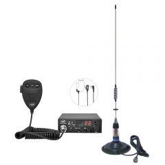 Kit Statie radio CB PNI ESCORT HP 8001L ASQ + Casti HS81L + Antena CB PNI ML70 cu magnet inclus