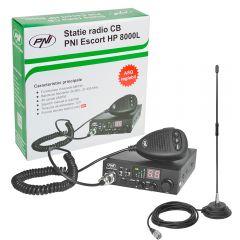 Kit Statie radio CB PNI ESCORT HP 8000L ASQ + Antena CB PNI Extra 40 cu magnet