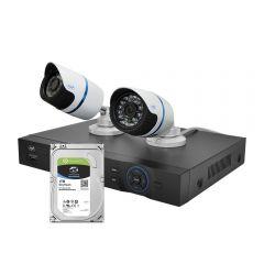 Kit supraveghere video PNI House IPMAX2 - NVR 12CH 960P ONVIF si 2 camere IP 720P cu Hard Disk 1Tb