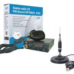 Kit Statie radio CB PNI ESCORT HP 8001L ASQ + Antena CB PNI S9 cu magnet Sirio DV MAG 145S Diametru 157mm