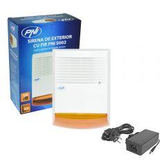 Sirena de exterior cu fir PNI S002 pt sisteme de detectie efractie cu acumulator si Alimentator 12V 5A