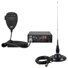 Kit Statie radio CB PNI Escort HP 8000L ASQ + Antena CB PNI ML145 cu magnet 145/PL