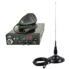 Kit Statie radio CB PNI ESCORT HP 8024 ASQ + Antena CB PNI ML145 cu magnet 145/PL