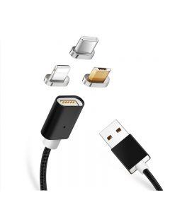 Cablu de incarcare si date 3 in 1 universal magnetic, BGTB, 1 metru, negru