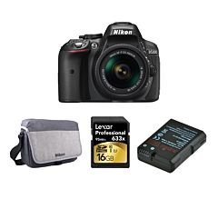 Nikon D5300 cu Obiectiv 18-55mm AF-P, Negru, Premium KIT (Include: Geanta Nikon, Baterie Jupio EN-EL14a, Card 16GB )