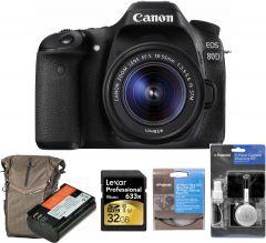 Canon EOS 80D cu Obiectiv 18-55mm IS STM, Premium KIT (Include: Rucsac Vanguard Reno 41KG, Acumulator suplimentar Jupio LP-E6, Card 32GB, Filtr UV Polaroid si Kit de Curatare 5 in 1)