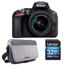 Aparat foto DSLR Nikon D5600 + Obiectiv 18-55mm AF-P VR +BONUS: Geanta Nikon si Card 32GB