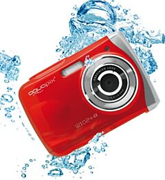 Aparat foto digital EasyPix W1024 Splash Waterproof, 16 MPx, Afisare Data, Rosu + Bonus Husa