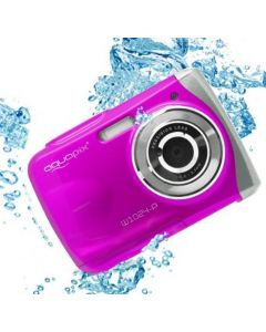 Aparat foto digital EasyPix W1024 Splash Waterproof, 16 MPx, Afisare Data, Roz + Bonus Husa