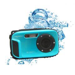 Aparat foto digital AquaPix W1627 Ocean, Waterproof, 16 MPx, Dustproof, Shockproof, Afisare Data, Albastru + Bonus Husa