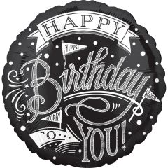 Balon folie 43cm, alb/negru, HAPPY Birthday TO YOU!