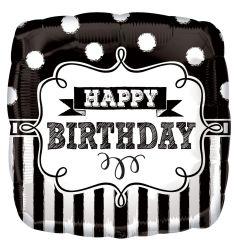 Balon folie 43 cm, alb/negru, HAPPY Birthday