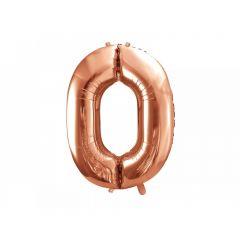 Balon Folie Figurina, Cifra 0, Rose gold