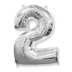 Balon Folie Figurina, Cifra 2, Argintiu