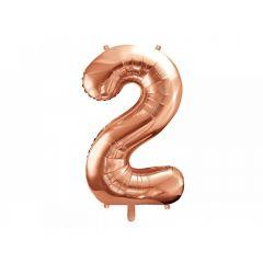 Balon Folie Figurina, Cifra 2, Rose gold
