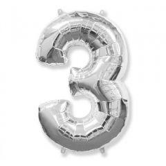 Balon Folie Figurina, Cifra 3, Argintiu