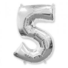Balon Folie Figurina, Cifra 5, Argintiu