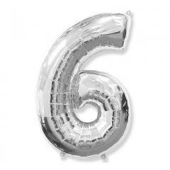 Balon Folie Figurina, Cifra 6, Argintiu