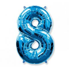 Balon Folie Figurina, Cifra 8, Albastru