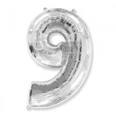 Balon Folie Figurina, Cifra 9, Argintiu